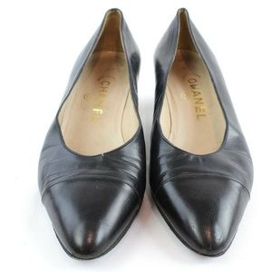 Chanel Navy Leather Kitten Heel Pumps Size 8.5